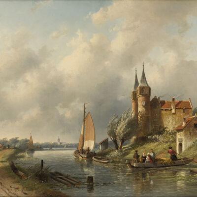 Charles Leickert | Een Hollands rivierlandschap | Kunsthandel Bies
