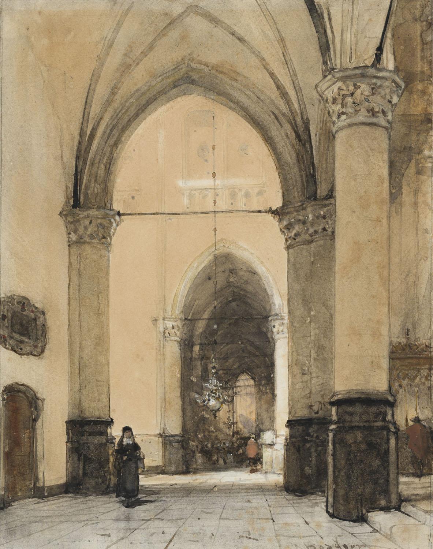 Johannes Bosboom | Interieur van de Grote Kerk te Alkmaar | Kunsthandel Bies