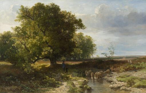 Johannes Warnardus Bilders | Zomers landschap met een herder bij zijn kudde | Kunsthandel Bies