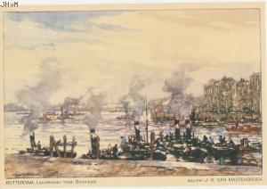 J.H. van Mastenbroek | Ansichtkaart naar een aquarel | Leuvehaven 1940