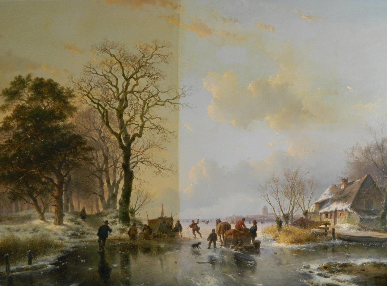 Restauratie voorbeeld 1 | Andreas Schelfhout half schoongemaakt door restaurator van schilderijen Hans Bies