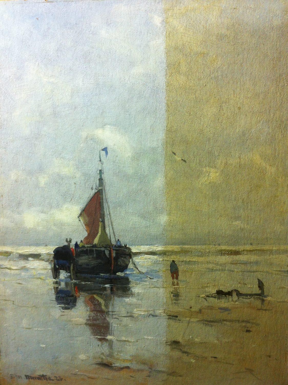 Restauratie voorbeeld 2 | Gerhard Morgenstjerne Munthe half schoongemaakt door restaurator van schilderijen Hans Bies