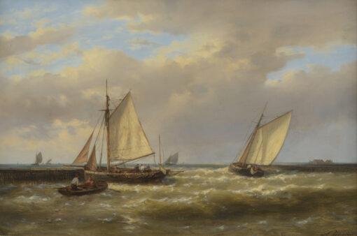 Abraham Hulk | Zeilschepen en roeiboot bij een landtong | Kunsthandel Bies