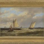 Abraham Hulk | Zeilschepen en roeiboot bij een landtong