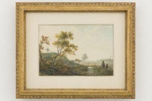 Abraham Teerlink | Landschap met vissers aan het water | Kunsthandel Bies