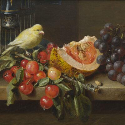 Adriana Haanen | Stilleven met fruit en een kanarie | Kunsthandel Bies
