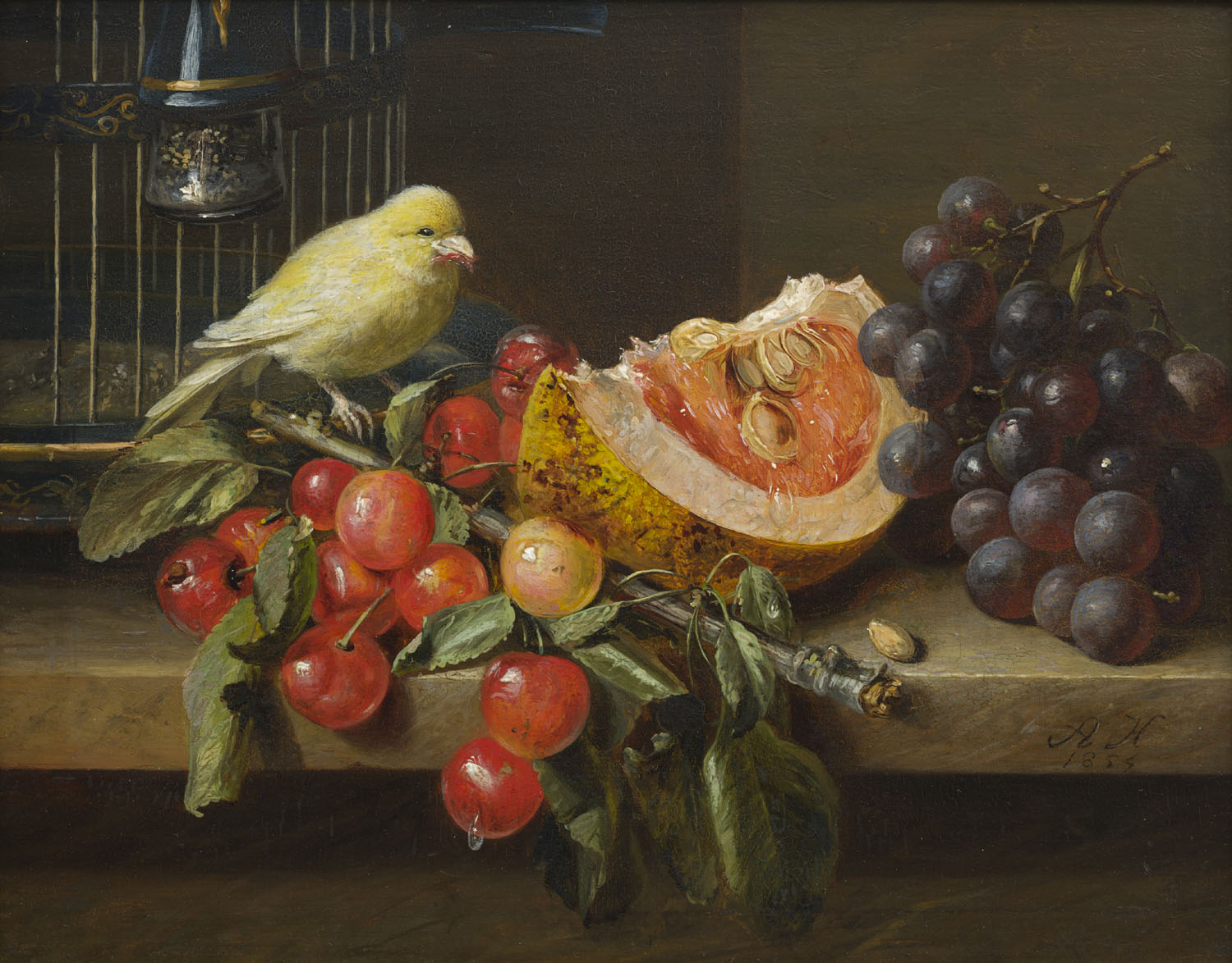 Adriana Haanen | A still life with fruit and a canary | Kunsthandel Bies | Bies Gallery