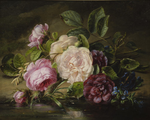 Adriana Haanen | Stilleven met rozen aan de rand van een riviertje | Kunsthandel Bies
