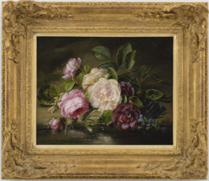 Adriana Haanen | Stilleven met rozen aan de rand van een riviertje | Ingelijst | Kunsthandel Bies
