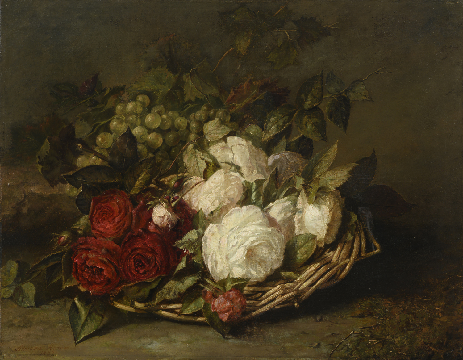 Adriana Haanen | A still life with white and red roses and grapes | Kunsthandel Bies | Bies Gallery