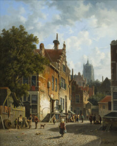 Adrianus Eversen | Zonnig stadsgezicht met vele figuren en een kerk op de achtergrond | Kunsthandel Bies