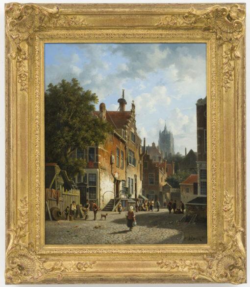 Adrianus Eversen   Zonnig stadsgezicht met vele figuren en een kerk op de achtergrond   Kunsthandel Bies