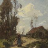 J.E.H. Akkeringa   Moeder met kind op een landweg