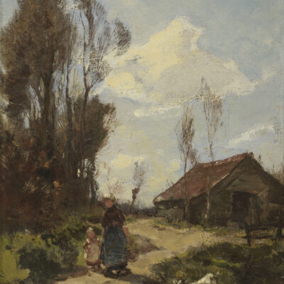 J.E.H. Akkeringa | Moeder met kind op een landweg | Kunsthandel Bies