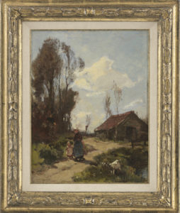 J.E.H. Akkeringa | Moeder met kind op een landweg
