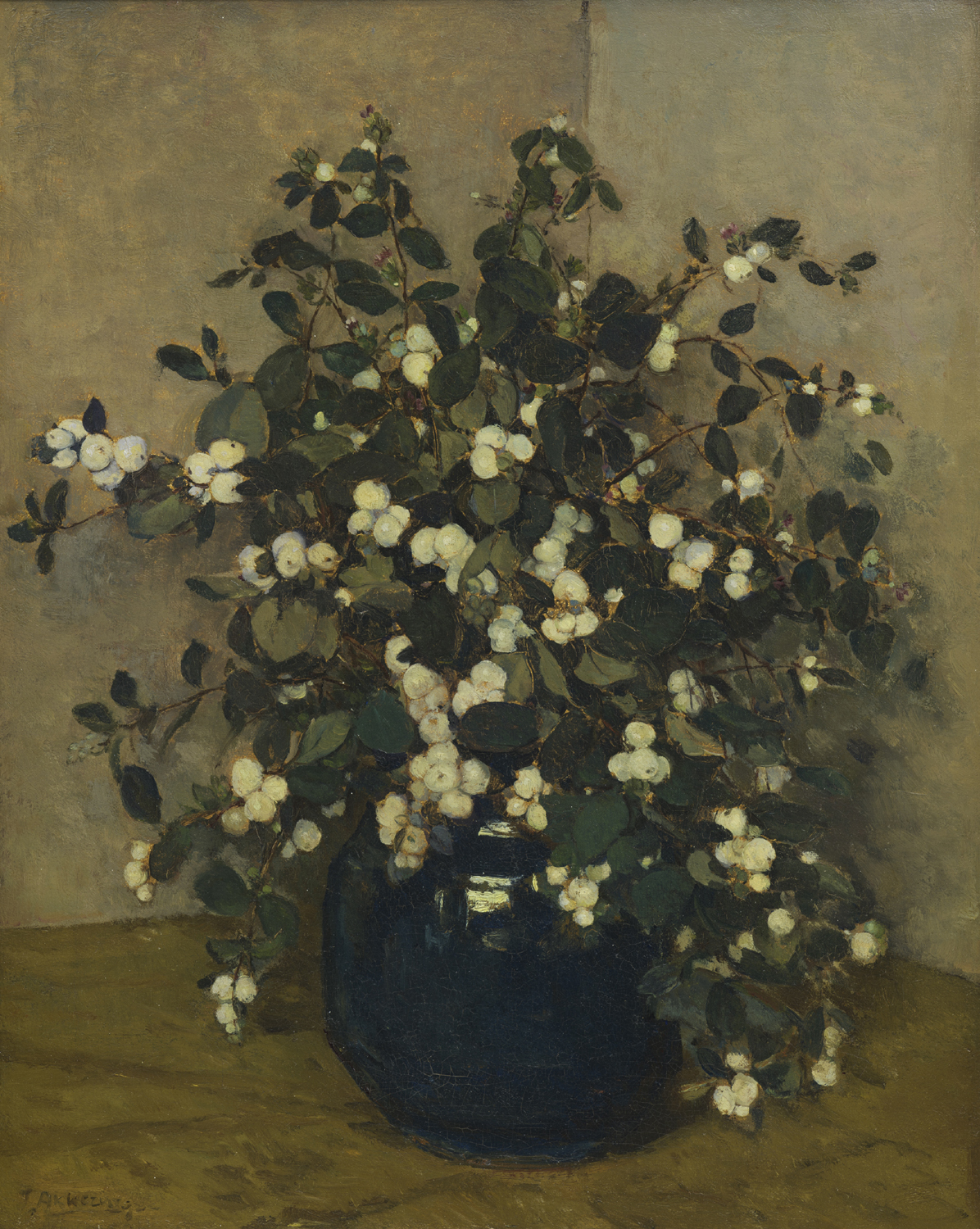 Johannes Evert Hendrik Akkeringa | Snowberry in a blue earthenware pot | Kunsthandel Bies | Bies Gallery