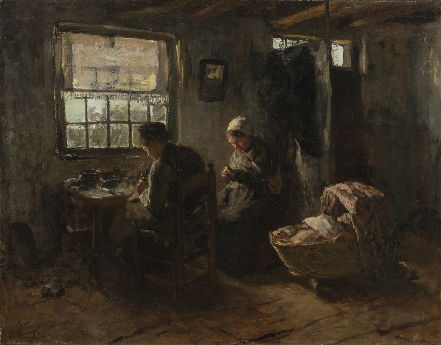 Albert Neuhuys |Farmers interior with father, mother and baby in a cradle | Kunsthandel Bies | Bies Gallery