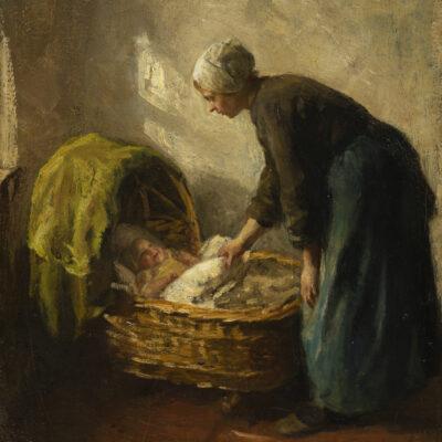 Albert Neuhuys | Interieur met moeder bij een wiegje | Kunsthandel Bies