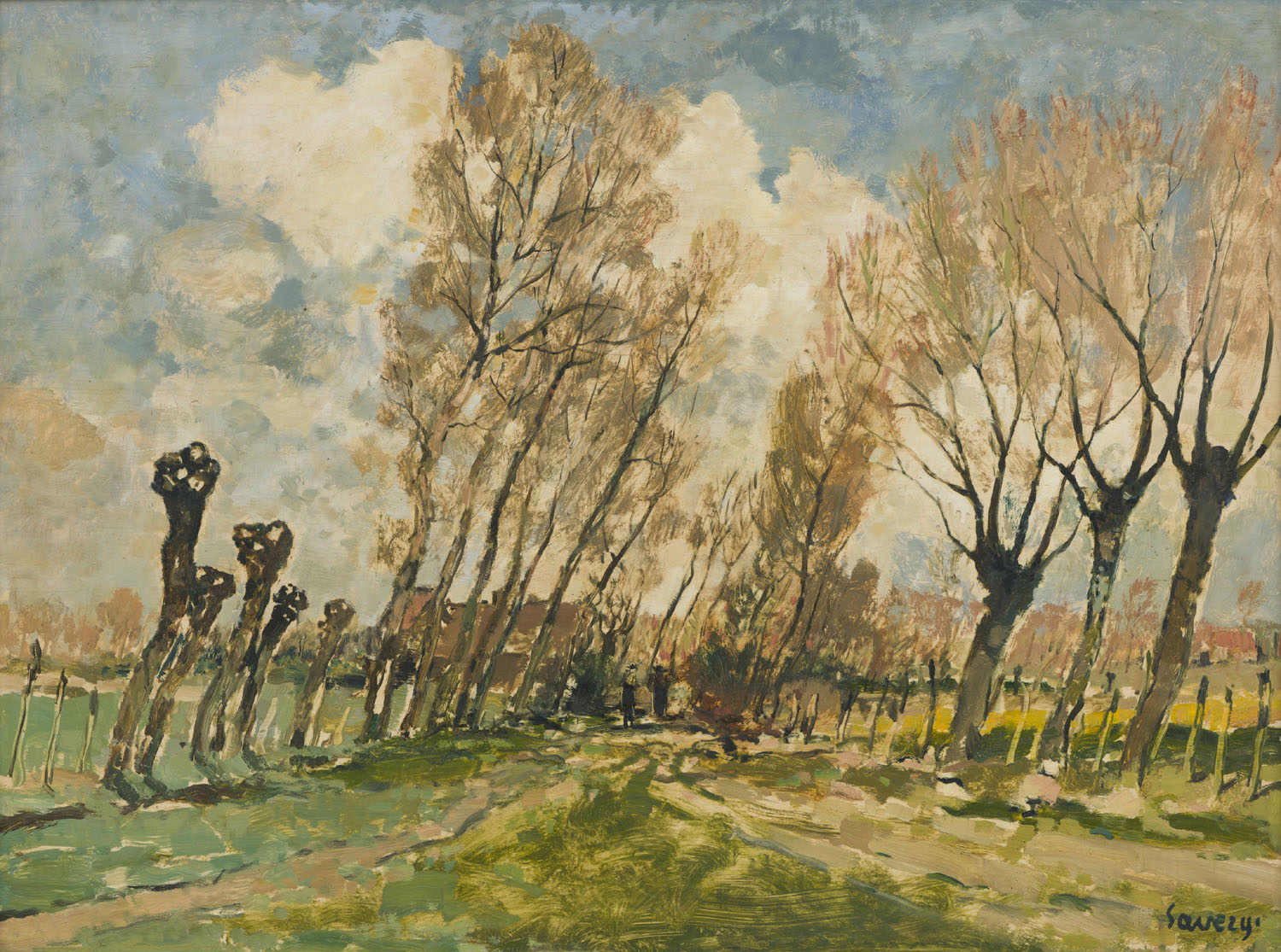 Albert Saverijs | Astene, a lane with willow-trees| Kunsthandel Bies | Bies Gallery