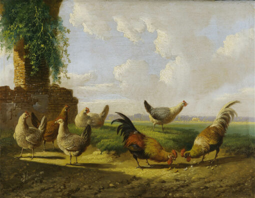 Albertus Verhoesen | Pluimvee in een landschap (125A) | Kunsthandel Bies