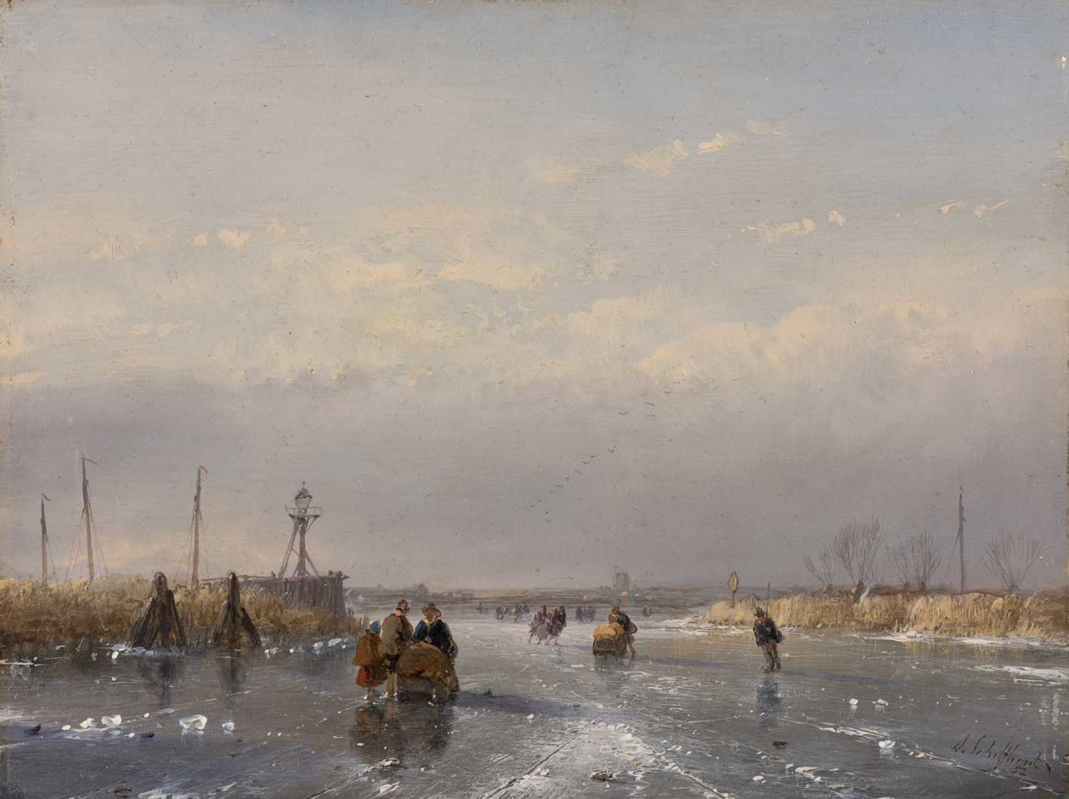 Andreas Schelfhout | Skaters on a frozen river| Kunsthandel Bies | Bies Gallery