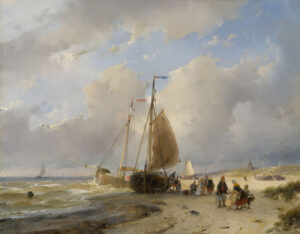 Andreas Schelfhout | Strandgezicht met vissersboten en vele figuren | Kunsthandel Bies