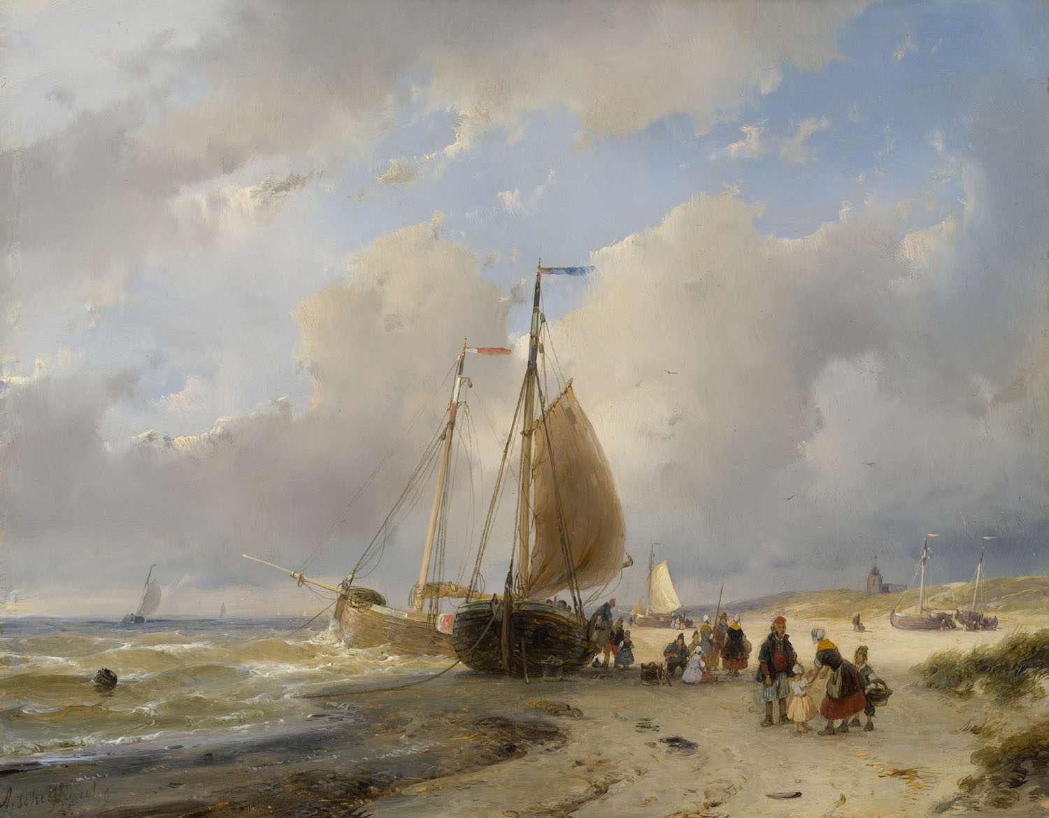 Andreas Schelfhout | A beach scene with fishing boats and many figures | Kunsthandel Bies | Bies Gallery