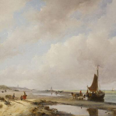 Andreas Schelfhout | Strandgezicht bij Scheveningen met de Oude Kerk en het Paviljoen Von Wied in de verte | Kunsthandel Bies