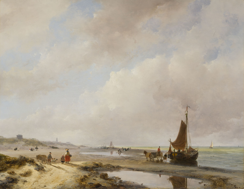Andreas Schelfhout   Strandgezicht bij Scheveningen met de Oude Kerk en het Paviljoen Von Wied in de verte   Kunsthandel Bies