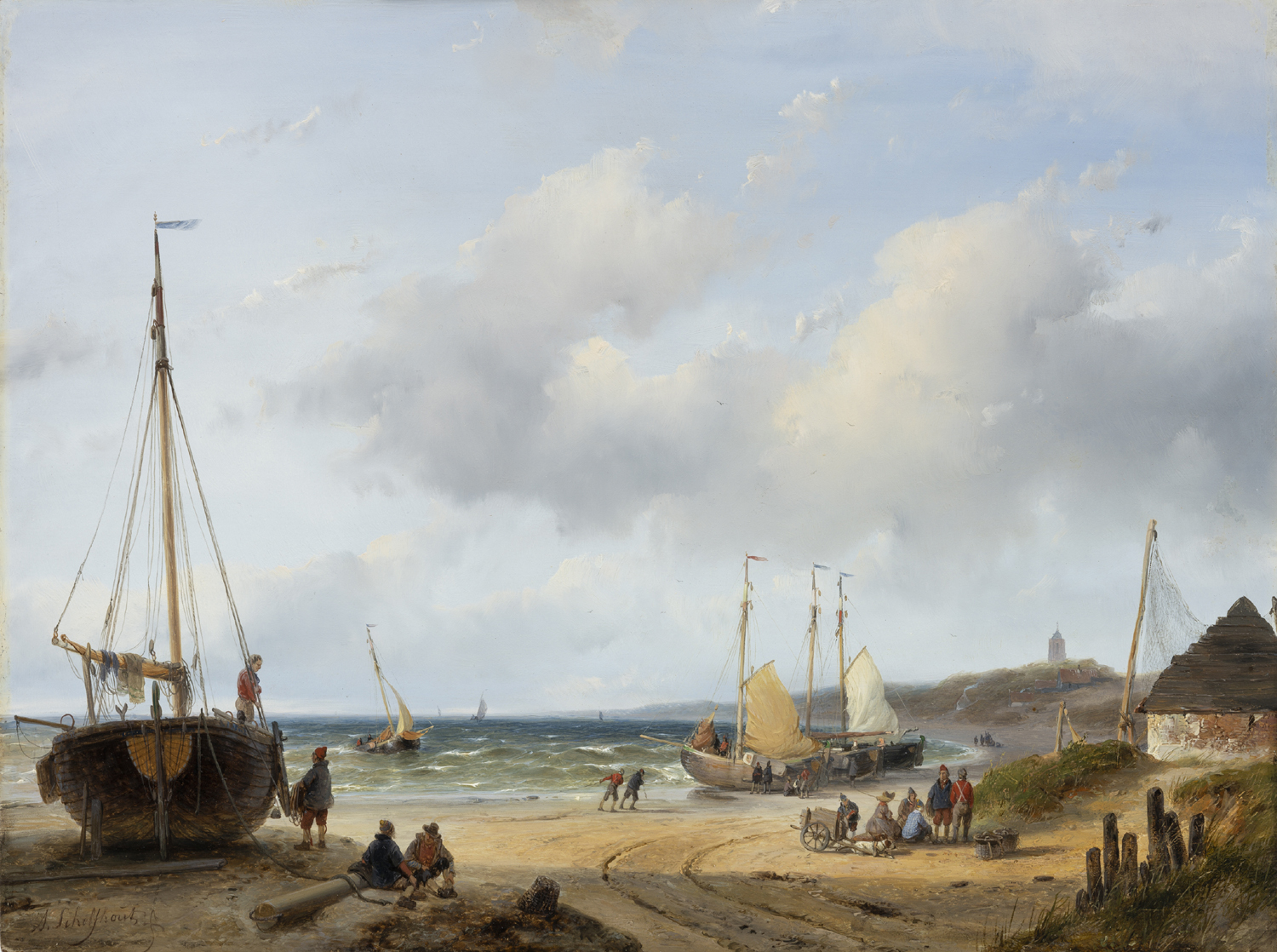 Andreas Schelfhout | A beach scene with fishing boats and figures | Kunsthandel Bies | Bies Gallery