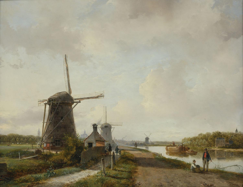 Andreas Schelfhout | Zomers gezicht op de Vliet bij Den Haag | Kunsthandel Bies | Bies Gallery