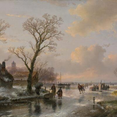 Andreas Schelfhout | Een Hollands winterlandschap met figuren op het ijs | Kunsthandel Bies