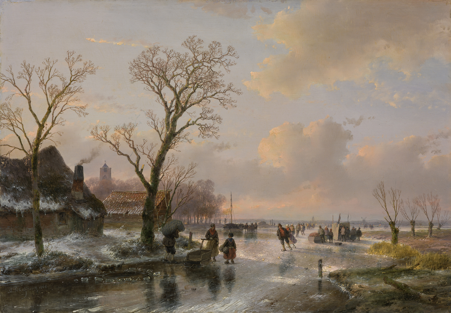 Andreas Schelfhout | A Dutch winter landscape with figures on the ice | Kunsthandel Bies| Bies Gallery