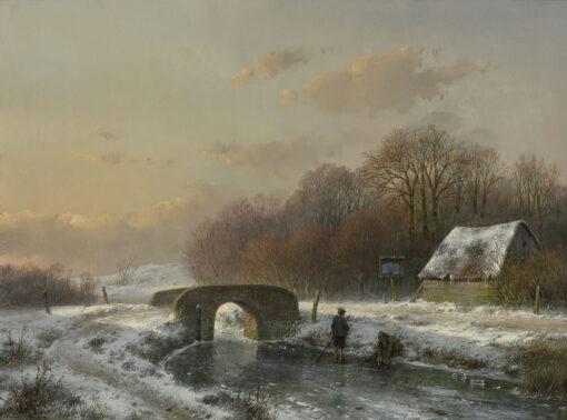 Andreas Schelfhout | Winterlandschap met schaatsers bij een bruggetje | Kunsthandel Bies