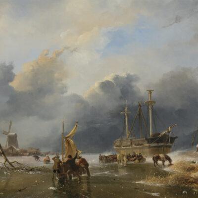 Andreas Schelfhout | Winters rivierlandschap met een ingevroren schip