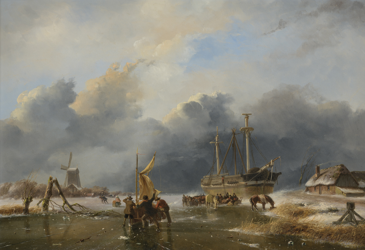 Andreas Schelfhout |A river landscape in winter with a ship on the ice | Kunsthandel Bies | Bies Gallery