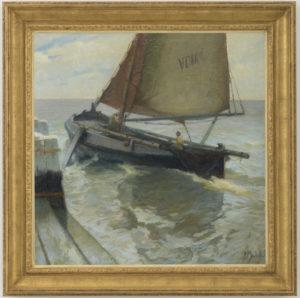 Anthonie Pieter Schotel | Uitvarende Volendamse Botter | Ingelijst | Kunsthandel Bies