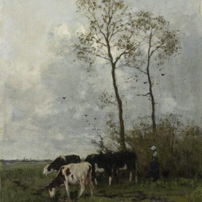 Anton Mauve | Landschap met vier koeien en een meisje | Kunsthandel Bies