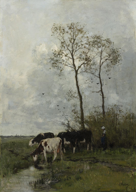 Anton Mauve   Landschap met vier koeien en een meisje   Kunsthandel Bies