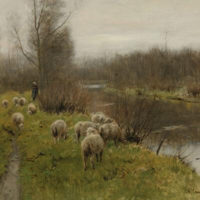 Anton Mauve | Schapen langs een rivier | Kunsthandel Bies
