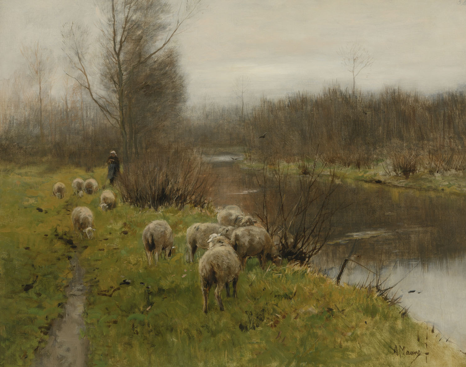 Anton Mauve | Sheep at a river bank | Kunsthandel Bies | Bies Gallery