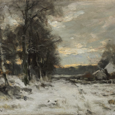 Louis Apol | A forest landscape with a farmhouse in winter | Kunsthandel Bies | Bies Gallery