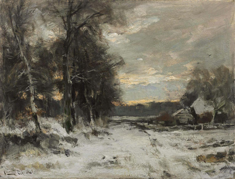 Louis Apol | Winters boslandschap met een boederij | Kunsthandel Bies