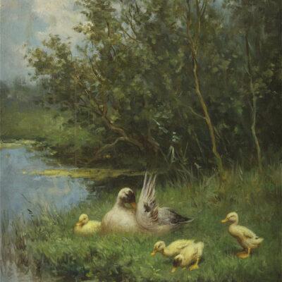 Constant Artz | Eend met kuikens langs een riviertje | Kunsthandel Bies
