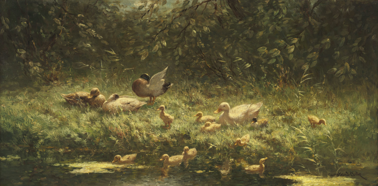 Constant Artz | Ducks and ducklings on a river bank | Kunsthandel Bies | Bies Gallery