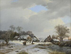 Barend Cornelis Koekkoek | Zonnig winterlandschap met boerderijen en figuren | Kunsthandel Bies