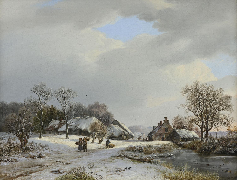 Barend Cornelis Koekkoek | A sunny winter landscape with farms and figures | Kunsthandel Bies | Bies Gallery