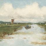 Victor Bauffe | Polderlandschap met een man in een roeiboot | Kunsthandel Bies