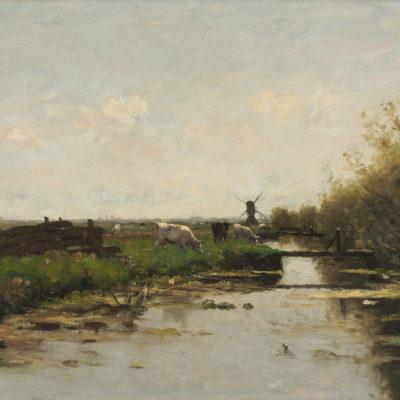 Victor Bauffe | Polderlandschap met koeien langs een vaart | Kunsthandel Bies