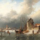 Elias Pieter van Bommel | IJsgezicht met schaatsers bij een stad | Kunsthandel Bies